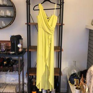 Neon green BCBG one shoulder gown